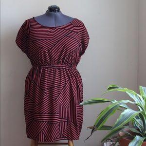 Graphic Print Orange/Black Dress - fits sz 2X